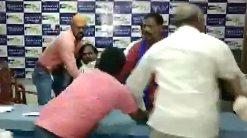 Alexander, a PhD student from Osmania University, and his associates attacked National SC Reservation Parirakshana Samiti president Karne Srisailam during a press conference. (Photo: Twitter I ANI)