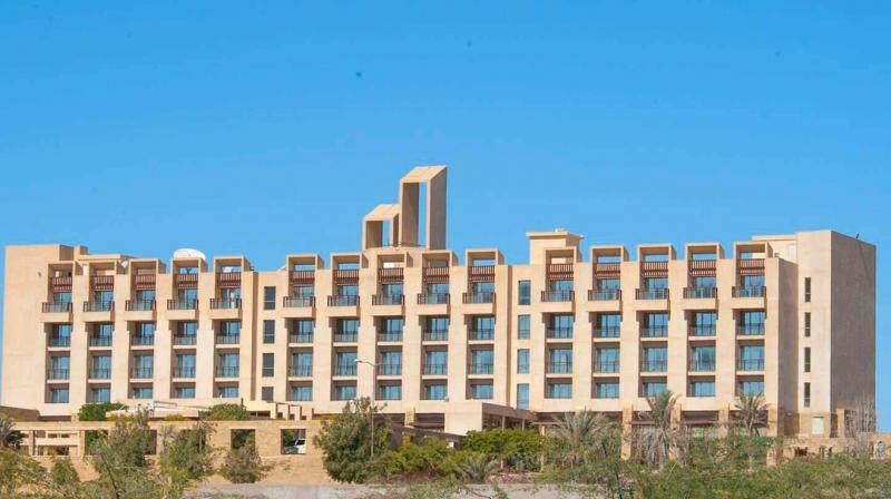 The hotel, frequented by business and leisure travellers, is located on the Koh-e-Batil hill, south of West Bay on Fish Harbour road in Gwadar. (Photo: ANI twitter)