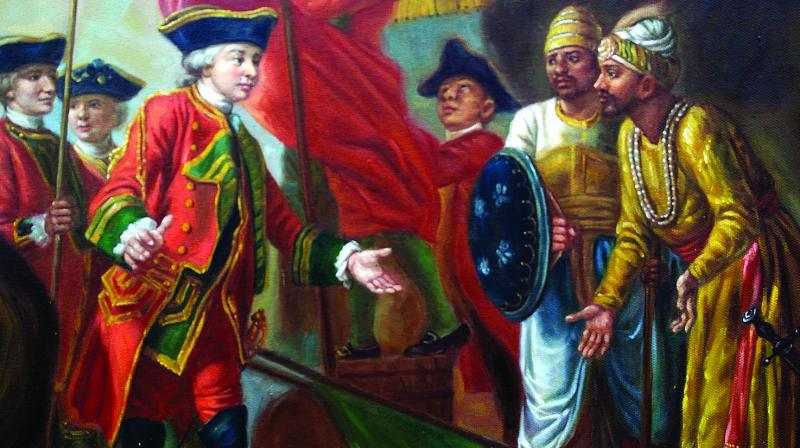 Robert Clive and Mir Jafar after the Battle of Plassey in 1757