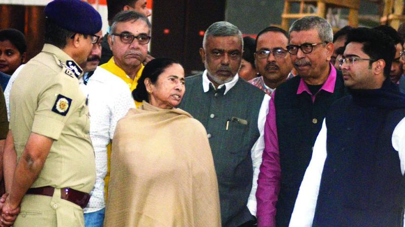 Chief minister Mamata Banerjee, Trinamul Congress MP Abhishek Banerjee and other leaders at Brigade Parade ground to inspect the preparation for the January 19 rally, on Thursday. (Photo: Asian Age)