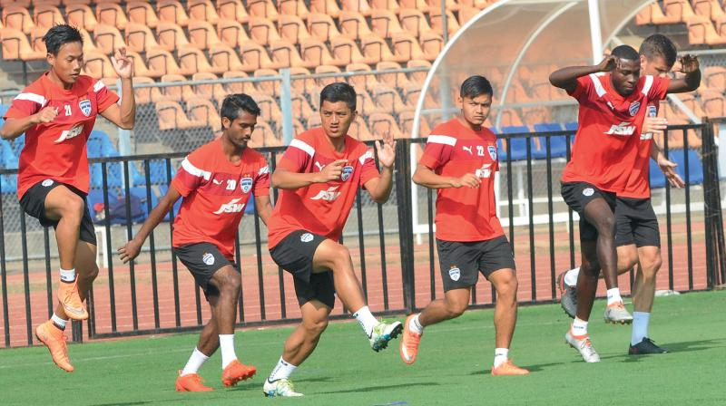 Bengaluru FC players at a training session on Friday. The team were joined by their new recruit and striker Roby Norales (right) but the Honduras player will not be part of the XI on the opening day. (Photo: Shashidhar B.)
