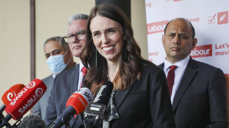 New Zealand Prime Minister Jacinda Ardern, second right, addresses the media on the first day of her election campaign in Rotorua, New Zealand, Monday, Sept 7. 2020. Ardern said that her government will create a new public holiday to celebrate the Maori New Year if it is reelected next month. (AP)