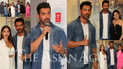 On Wednesday, John Abraham launched his next film Batla House's trailer in Mumbai. Apart from John, Batla House actors like Mrunal Thakur, Nora Fatehi and director of the film Nikhil Advani was also present at the trailer launch. (Photos: Viral Bhayani)