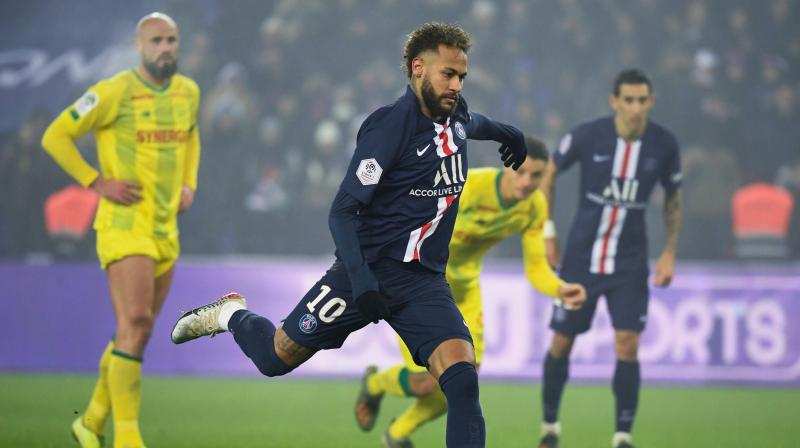 A superb Kylian Mbappe goal and a Neymar penalty helped Paris Saint-Germain restore a five-point lead atop the Ligue 1 standings with a 2-0 home win over Nantes on Wednesday. (Photo:AFP)Photo:AFP)