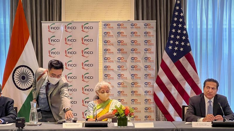 Union Finance Minister Nirmala Sitharaman during the investors roundtable meeting hosted by FICCI and US-India Strategic Partnership Forum (USISPF), in Boston. (Photo: PTI)