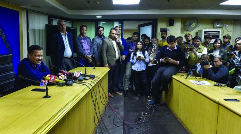 Delhi CM Arvind Kejriwal at a press conference in New Delhi on Wednesday. (Photo: PTI)