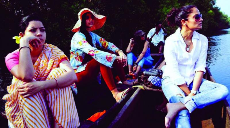 A scene from Angry Indian Goddesses, a film in which one of the characters is a lesbian