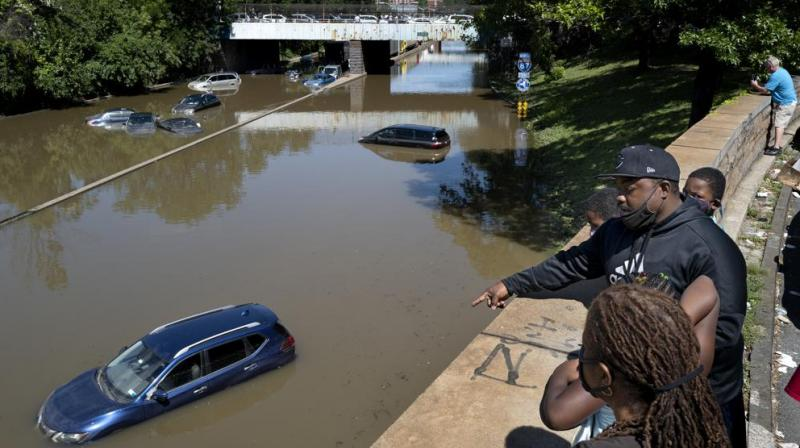 Cars and trucks are stranded by high water Thursday, Sept 2, 2021, on the Major Deegan Expressway in Bronx borough of New York as high water left behind by Hurricane Ida still stands on the highway hours later. (AP/Craig Ruttle)