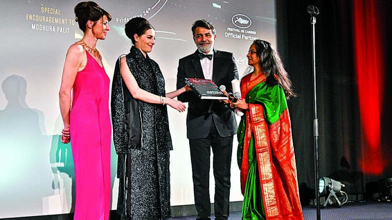Modhura Palit during while receiving award at Cannes Film Festival