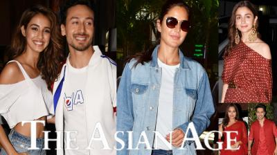 Bollywood celebrities like Varun Dhawan, Katrina Kaif, Alia Bhatt, Aditya Roy Kapur, Sonakshi Sinha, Tiger Shroff, Disha Patani and others were snapped in the city. (Photos: Viral Bhayani)