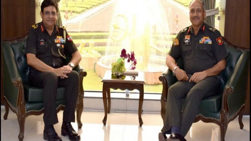 On his visit, Lieutenant General RP Singh was briefed by Lieutenant General Arvind Dutta, GOC Vajra Corps, read a statement. (Photo: ANI)
