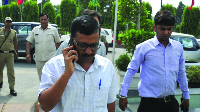 Delhi chief minister Arvind Kejriwal arrives at the Old Secretariat in Civil Lines on Monday. (Bunny Smith)