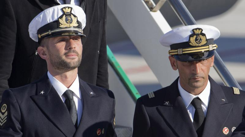 File photo of Italian marines Salvatore Girone, left, and Massimiliano Latorre, arriving at the Ciampino Rome airport from Kochi, India. AP Photo