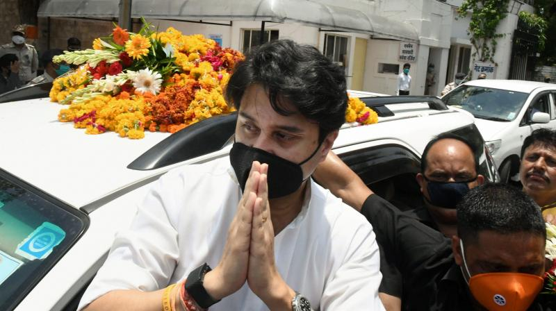BJP leader Jyotiraditya Scindia comes out of the Raj Bhavan after attending a swearing-in ceremony for the Cabinet expansion of the Madhya Pradesh government, in Bhopal. PTI Photo