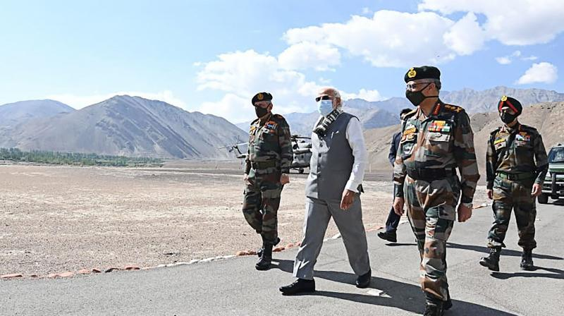 Prime Minister Narendra Modi during his visit to a forward location in Nimu in Ladakh. PTI Photo