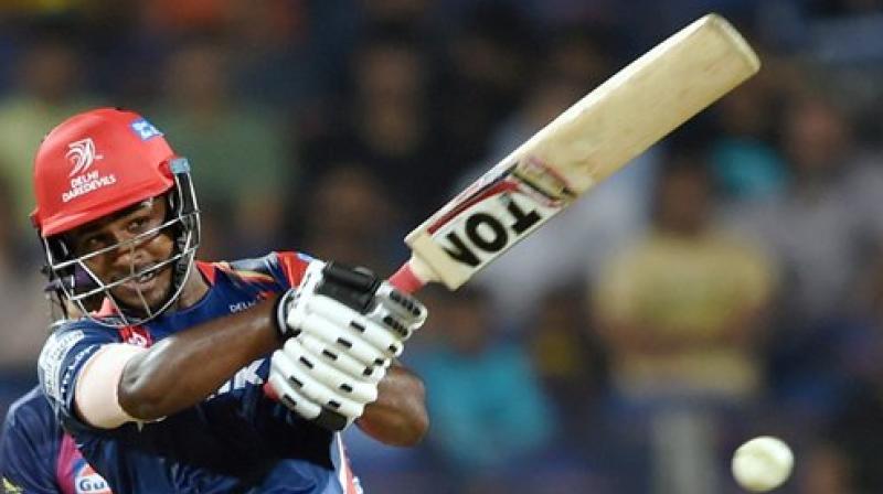 Delhi Daredevils batsman Sanju Samson plays a shot during the IPL T20 match played against Rising Pune Supergiants in Pune. (Photo: PTI)