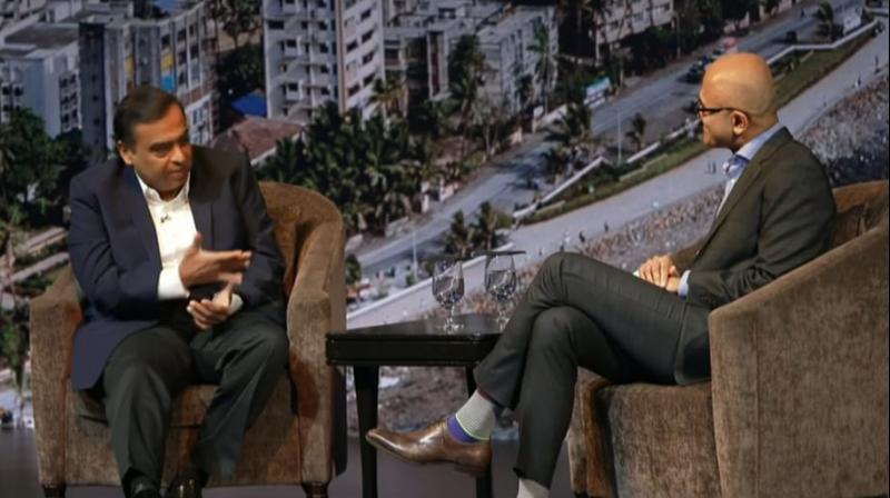Reliance India chairman Mukesh Ambani in conversation with Microsoft CEO Satya Nadella.