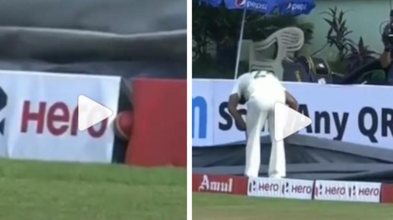 The ball eventually ended up being stuck between two advertisement boards. Following that, the Proteas fielders started searching for it – under the covers just in-front of the ball. (Photo: Screengrab/Instagram)