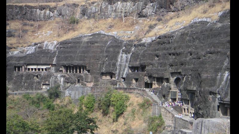 The Ajanta and Ellora caves.