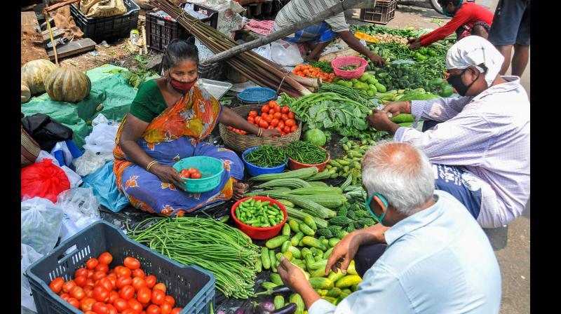 Buying veggies in the times of coronavirus. (PTI)