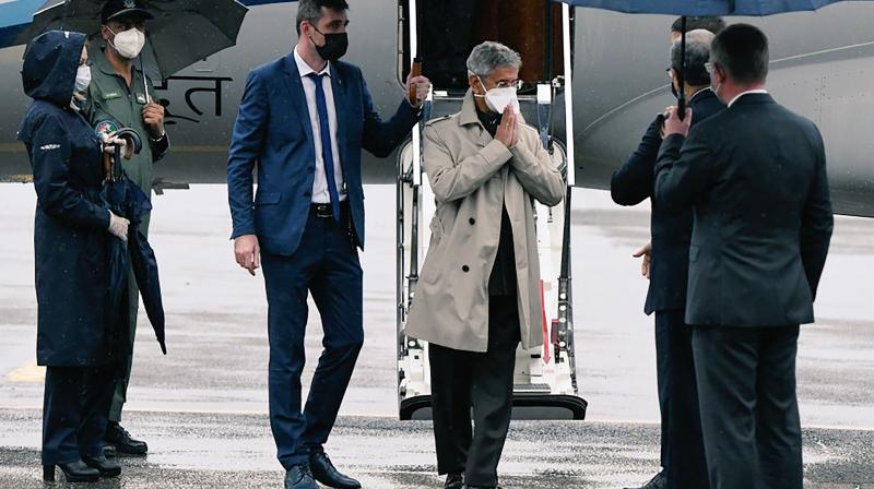 External Affairs Minister Subrahmanyam Jaishankar is greeted by the ambassador and senior officers from Russian Foreign Ministry, on his arrival in Moscow. — PTI photo