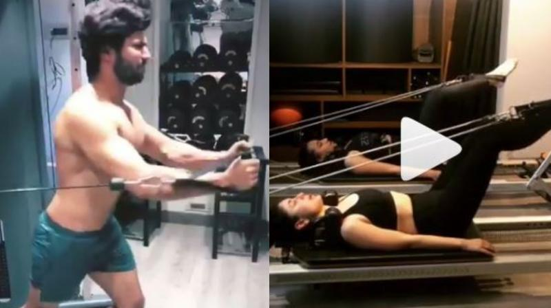 Varun Dhawan and Kareena Kapoor Khan working out.