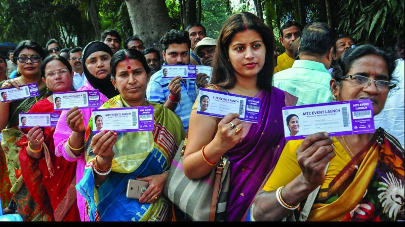 TMC workers stand in a queue as they show their IDs before the start of West Bengal chief minister Mamata Banerjees address during the launch of her partys campaign Banglar Garbo Mamata (Bengals Pride Mamata) in Kolkata ahead of the municipal and 2021 state Assembly elections on Monday. (Photo: PTI)