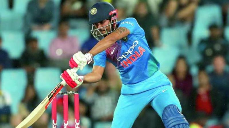 Manish Pandey en route to his half century in the second T20. (Photo: BCCI)