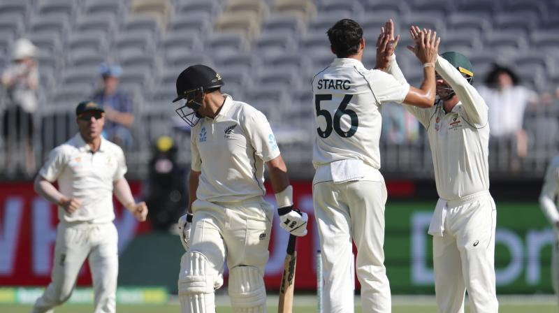 New Zealand were never in contention after losing their first wicket with just six runs on the board and were unable to push the match into a fifth day after Mitchell Starc and Pat Cummins cleaned up the Kiwi tail under lights in Perth's first ever day-night Test. (Photo:AP)