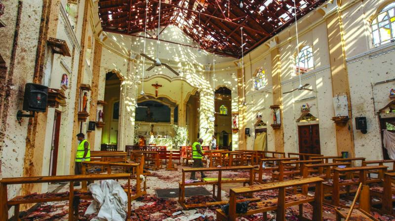 A view of St. Sebastian's Church damaged in blast in Negombo, north of Colombo on Sunday. (Photo: AP)