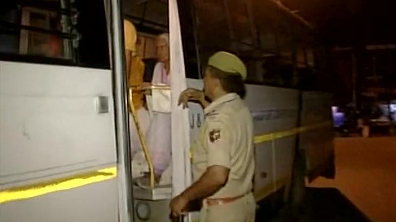 Security increased at Jammu base camp following terror attack on Amarnath Yatra pilgrims in Anantnag, checks being conducted. (Photo: Twitter | ANI)