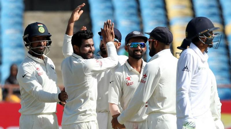 Despite the presence of local lads Cheteshwar Pujara and Ravindra Jadeja in India's playing for the first Test against England, Saurashtra Cricket Association Stadium has seen largely empty stands on the first three days following government's decision to withdraw 500 and 1,000 rupee notes from circulation in a bid to flush out money hidden from the tax man. (Photo: BCCI)