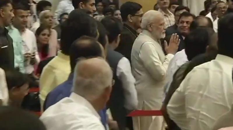 Prime Minister Narendra Modi arrives at the Rashtrapati Bhavan. (Photo: Twitter | ANI)