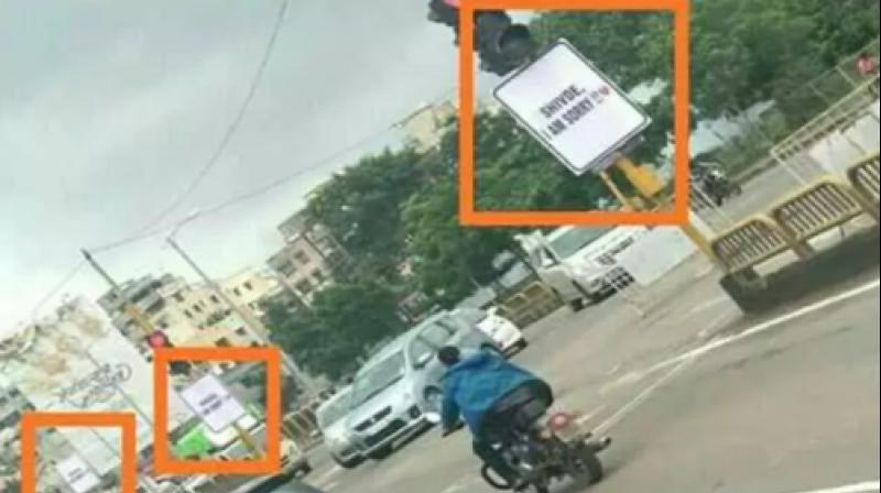 Residents of an upmarket area in Pimpri Chinchwad, near Pune, woke up on Friday to see several posters, carrying the line '(name of the girl), I am sorry'  in bold print with a heart symbol beside it in red, dotting the area especially prominent traffic intersections. (Photo: Twitter | man_with_class)