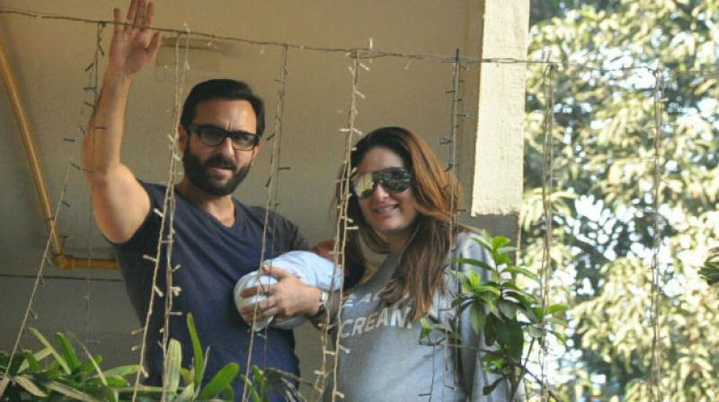 Saif and Kareena with Taimur outside their residence after his birth.