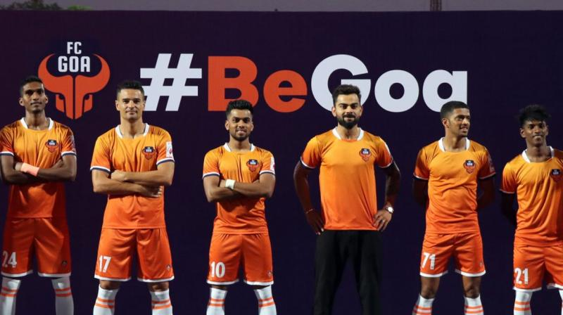 FC Goa launched their home jersey for the 2019/20 season on Monday during an event at the Bambolim Athletic Ground here.  The jersey was unveiled in presence of the club's co-owner and captain of the Indian national cricket team Virat Kohli. (Photo: FC Goa/Twitter)