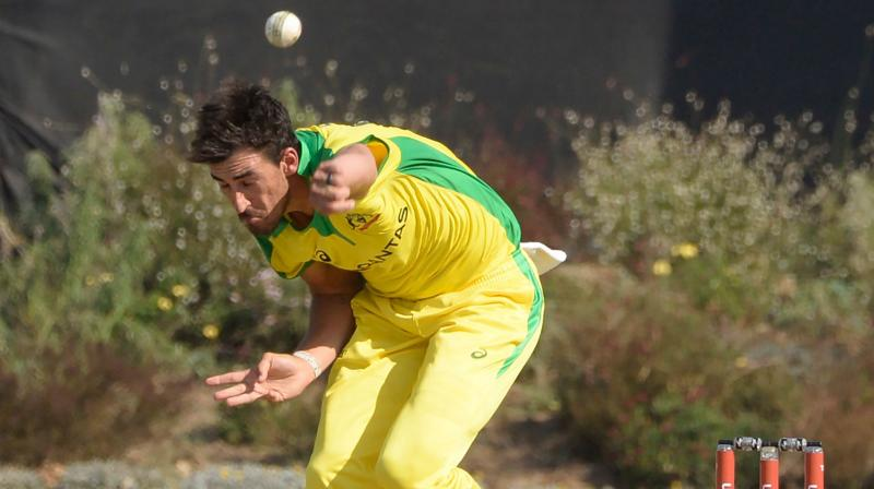 Mitchell Starc bolwing during a ODI on South Africa tour. AFP Photo