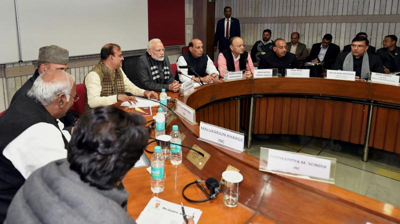 Prime Minister Narendra Modi, Home Minister Rajnath Singh, Finance Minister Arun Jaitley, Congress leader Ghulam Nabi Azad and Parliamentary Affairs Minister Ananth Kumar during an all-party meeting, ahead of the Budget Session, at Parliament House in New Delhi on Sunday. (Photo: PTI)