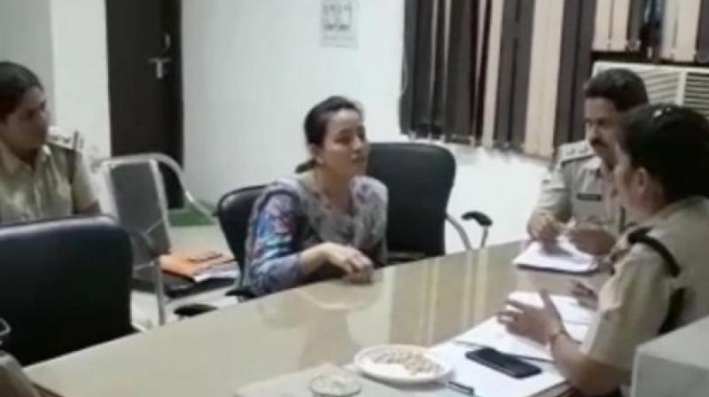 Honeypreet who was arrested from the Zirkapur-Patiala highway in Punjab while travelling in a Toyota Innova, at Haryana Police Station on Tuesday night. (Photo: PTI)