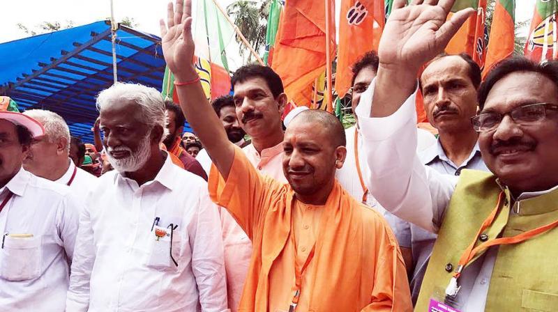 Uttar Pradesh Chief Minister Yogi Adityanath, on Wednesday, joined the Jana Raksha Yatra in Kannur over the killing of BJP and RSS workers in the state. (Photo: Twitter/Yogi Adityanath)