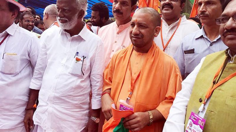 Averring that there is no place for violence in a democracy, Adityanath said through this procession, the BJP wants to show the mirror to the communist government of Kerala and wants it to repent for the bad they have committed. (Photo: Twitter/Yogi Adityanath)