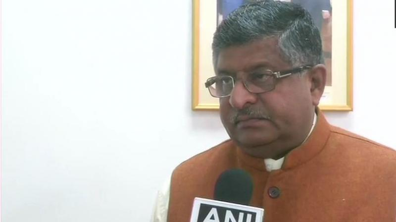 'I totally condemn blatant lies of Rahul Gandhi. He does not believe the Indian Air Force, does not trust the Supreme Court verdict that clearly said there is no commercial impropriety in the (Rafale) procurement process. He does not believe the CAG,' Prasad said. (Photo: ANI | Twitter)