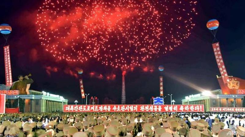 North Korea's official Korean Central News Agency (KCNA) shows fireworks displaying while Pyongyang residents and military people holding a celebration rally on the test of a hydrogen bomb for ICBM at Kim Il Sung Square in Pyongyang. (Photo: AFP)