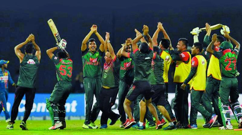 The Bangladesh team does the 'cobra dance' after defeating hosts Sri Lanka. (Photo: ICC)