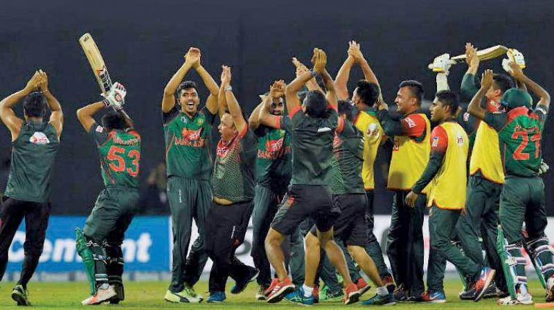 Bangladesh players celebrate their thrilling win over Sri Lanka. (Photo: AP)