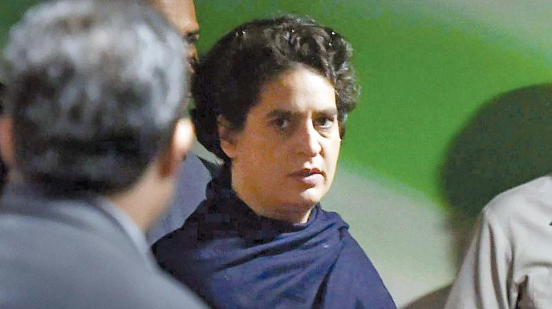 Priyanka Vadra arrives during the 84th Plenary Session of Indian National Congress on Saturday.