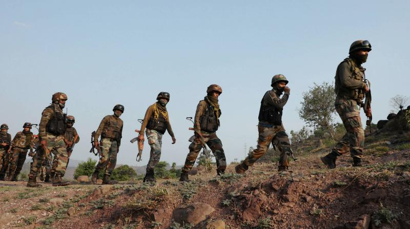 : Army personnel during a counter-infiltration operation along the Line of Control in Kalakote sector of Rajouri district in Jammu and Kashmir. PTI Photo