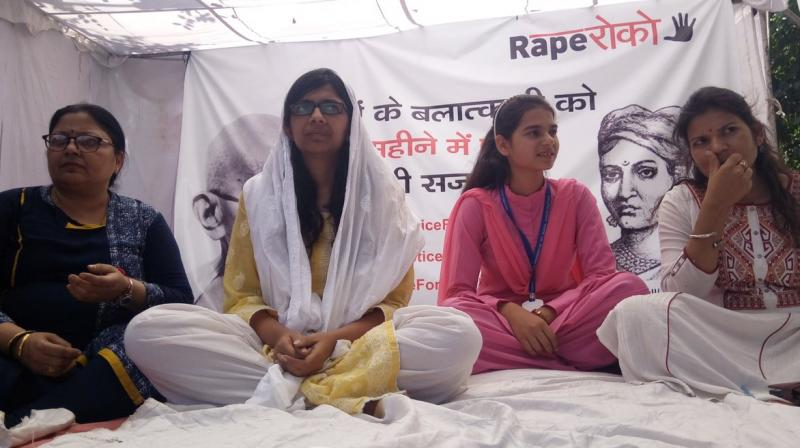 DCW chief Swati Maliwal on day one of her hunger strike. (Photo: Twitter/@imamansharma2)
