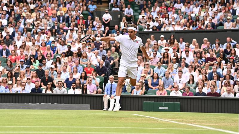 Roger Federer in action against Cameron Norrie. (Photo: Twitter/ Wimbledon)