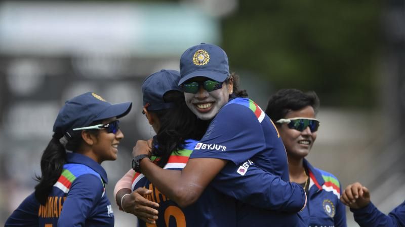 India Deepti Sharma (centre) celebrates catching England's Natalie Sciver during their  ODI at Worcester on Saturday. (Photo: AP)